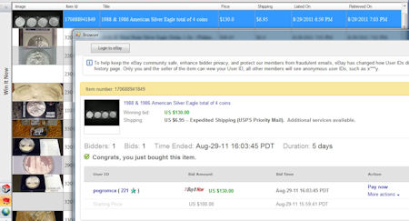 Screenshot of 4 American Silver Eagles won using Buyer Auction Manager