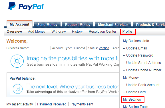 Get to Settings Old PayPal page