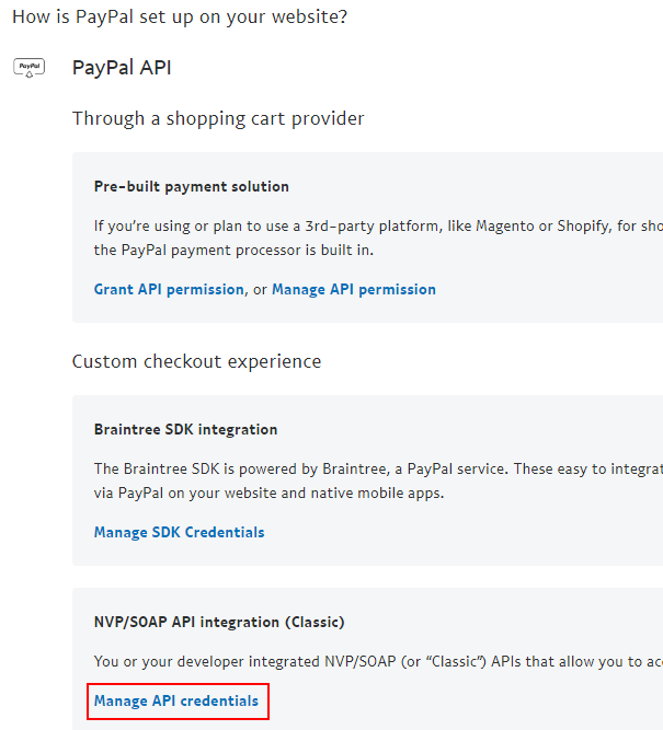 Request PayPal API Credentials